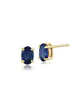 Gemondo Sapphire Earrings, 9ct Yellow Gold 1.15ct Oval Light Blue Kanchanaburi Sapphire Stud Earrings 6x4mm
