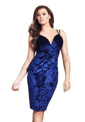 Jessica Wright Andrezza Crushed Velour Strappy Bodycon Dress 16 Midnight blue