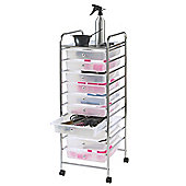 VonHaus 10 Drawer Mobile Storage Trolley for Home & Office in White