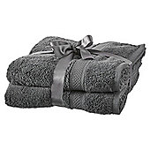 Tesco Egyptian Cotton 2 Pack Hand Towels Grey