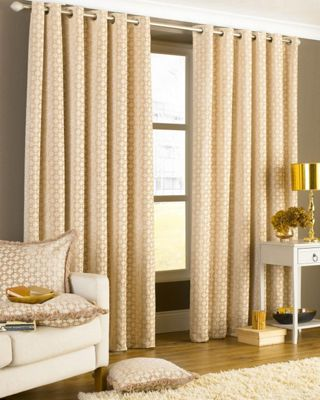 Belmont Eyelet Lined Curtains Beige 90x90
