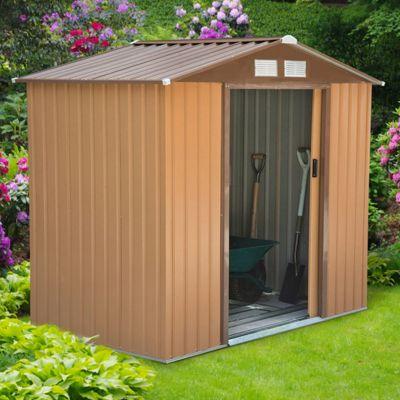 outsunny lockable garden shed 4 x 6ft khaki