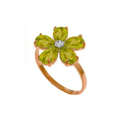 QP Jewellers Diamond & Peridot Foliole Ring in 14K Rose Gold - Size D