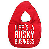 Dirty Fingers Life's a Rusky Business Baby Bib Red