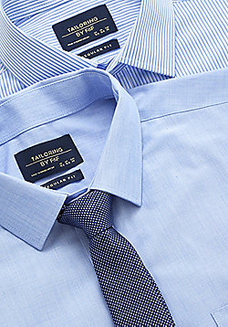 F&F 2 Pack of Easy Care Regular Fit Shirts with Tie - Blue