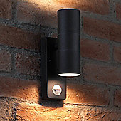 Auraglow PIR Motion Sensor Stainless Steel Up & Down Outdoor Wall Security Light - Black - Warm White