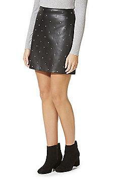 F&F Studded Faux Leather Mini Skirt - Black