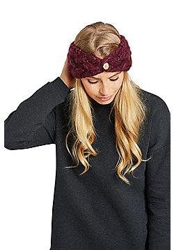 Zakti Womens Button Down 100% Acrylic Braid Stylish Headband for Snow Sports - Burgundy