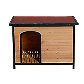 PawHut Insulated Wooden Dog Kennel Heat-resistant Outdoor w/ Opening Roof