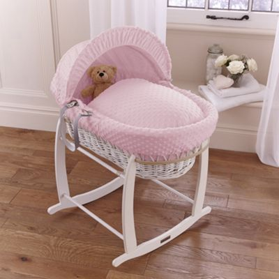 Clair de lune Dimple White Wicker Moses Basket - Pink