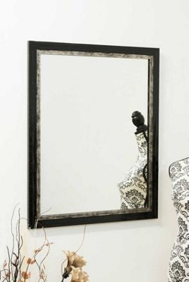 Black and Metallic Silver Framed Wall Mirror 2Ft8 X 2Ft2 (81cm X 66cm)