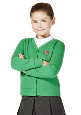 Girls Embroidered Jersey School Cardigan with As New Technology Emerald Green 2-3 years