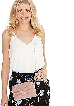 F&F Bow Front Camera Bag Blush Pink One Size