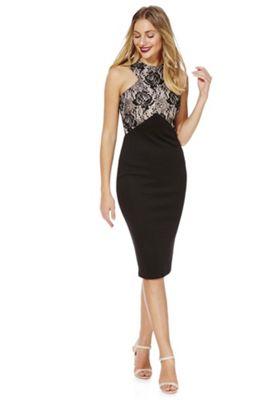 AX Paris Contrast Lace Panel Dress 8 Black & Cream