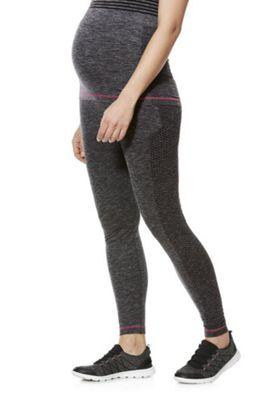 Mamalicious Engineered Mesh Panel Maternity Sports Leggings Grey M-L