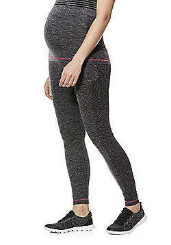 Mamalicious Engineered Mesh Panel Maternity Sports Leggings - Grey