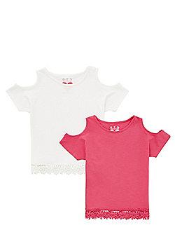 F&F 2 Pack of Crochet Hem Cold Shoulder T-Shirts - Cream & Pink