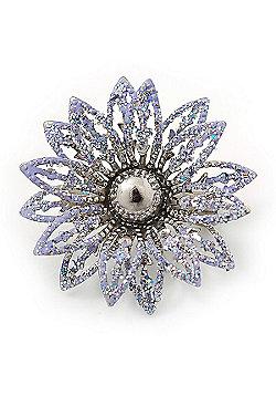 Small 3D Glittering Lavender Flower Brooch In Silver Tone - 30mm Diameter