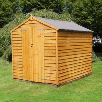 8 x 6 Sutton Windowless Overlap Apex Shed With Double Doors Garden Wooden Shed 8ft x 6ft (2.44m x 1.83m)