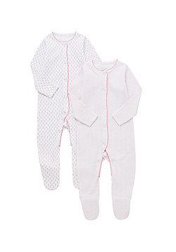 F&F 2 Pack of Floral Print Sleepsuits - Pink & White