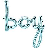 """Pastel Blue Baby Phrase Foil Balloon - 27"""""""