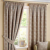 """Homescapes Natural Ready Made Linen Curtain Pair Pasted Floral Design 90x72"""""""