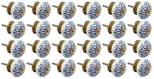 Ceramic Cupboard Drawer Knobs - Floral Design - Light Blue - Pack Of 24