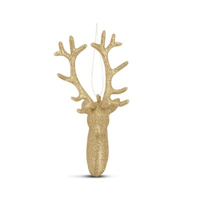 Hanging Champagne Glitter Reindeer Head Christmas Tree Decoration