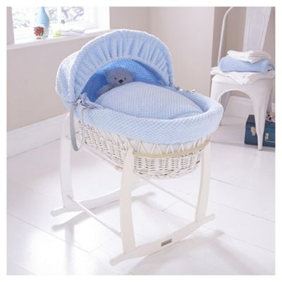 Clair de Lune White Wicker Moses Basket (Honeycomb Blue)