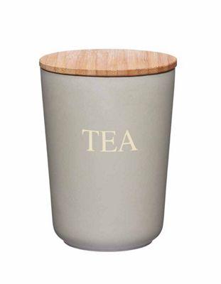 KitchenCraft Natural Elements Bamboo Fibre Airtight TEA Container Jar