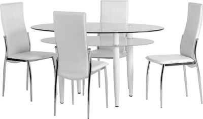 ValuFurniture Berkley Dining Set in Clear Glass/White Faux Leather