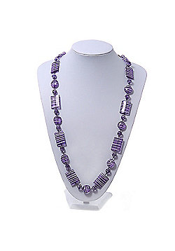 Purple Square Acrylic Bead With White Strips Long Necklace - 80cm Length
