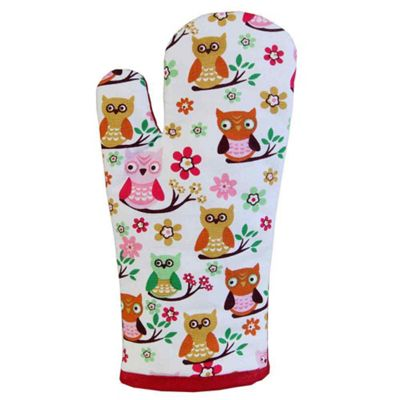 Homescapes Cotton Owls Red Blue Oven Glove