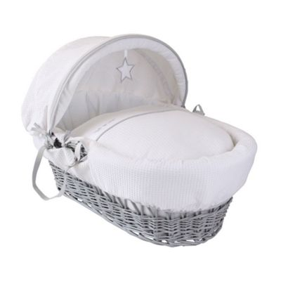 Clair de Lune Grey Wicker Moses Basket (Silver Lining)