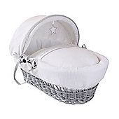 Clair de Lune Grey Wicker Moses Basket (Silver Lining)