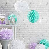 Set of 9 Pastel Tissue Paper Hanging Decorations