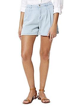 Vero Moda Herringbone Denim Shorts - Blue
