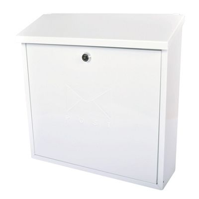 Sterling Contemporary White Metal Postbox