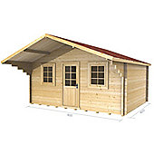 4m x 4m (13ft x 13ft) Amersham Apex Log Cabin Wooden Log Cabin - 34mm Wall Thickness
