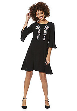 F&F Embroidered Bell Sleeve A-Line Dress - Black