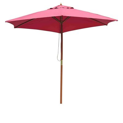 Outsunny 2.5m Wood Wooden Garden Parasol Umbrella Wine Red