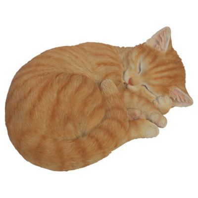 Real Life Ginger Sleeping Cat Ornament
