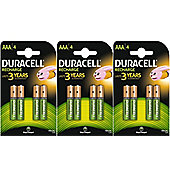 12 X Duracell 750mAh AAA Size Rechargeable Accu Batteries