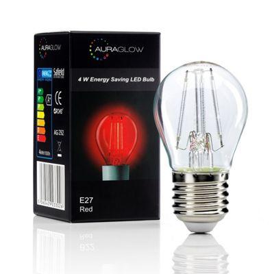 Auraglow 4w G45 Golf Ball Filament LED Vintage Light Bulb - E27 - RED