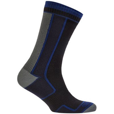 SealSkinz Thin Mid Length Sock Black/Blue Size: XL