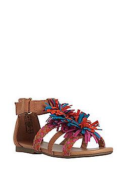 F&F Tassel Gladiator Sandals - Tan