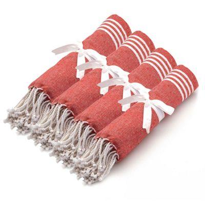 Turkish Beach / Bath / Yoga / Hammam, Peshtemal Towel 100% Cotton - Red x4