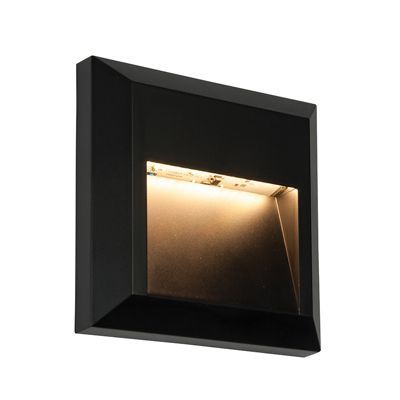 Severus Square Indirect 1W Warm White Wall Light Black Abs Plastic