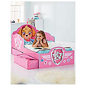 Paw Patrol Skye Toddler Bed With Storage Plus Deluxe Foam Mattress