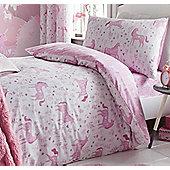 Catherine Lansfield Folk Unicorn Single Duvet Set Pink